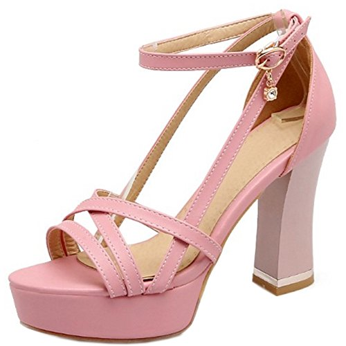Sandálias Knochelriemchen Damenmode Coolcept Espiar Rosa Toe Shoes Bloco Planalto Salto