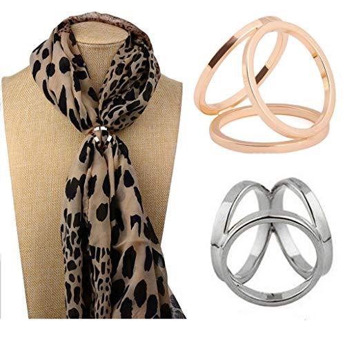 Design-dreifach-haken (2PCS (Golden + Silver) Frauen-Dame-Mädchen-drei Ring-Art- und Weiseschal-Ring-Wölbungs-moderne einfache dreifache Dia-Schmuck-Silk Schal-Haken-Klipp-Kleidungs-Verpackungs-Halter)