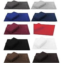 Betz 2er Pack Badvorleger Größe 50x70cm 100% Baumwolle Badematte Badteppich Duschvorlage PREMIUM Qualität 650 g/m² -10 Farben wählbar Farbe dunkelbraun