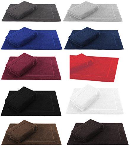 Betz 2er Pack Badvorleger Größe 50x70cm 100% Baumwolle Badematte Badteppich Duschvorlage PREMIUM Qualität 650 g/m² -10 Farben wählbar Farbe dunkelbraun Braun Und Blau Badematte