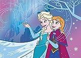 Bavaria Home Style Collection Kinder Teppich Kinderteppich mit Anna und ELSA - Eiskönigin - Frozen - Völlig unverfroren - Eiskristall - 95 x 133 cm