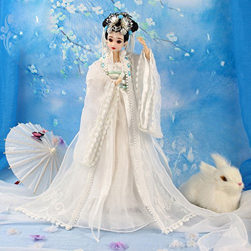 Antike Von Kostüm China - Homyl 1/6 Flexible Vinyl Körper Chinesische Kostüm Puppe Orientalischen Frau Antiken Kostüm Puppe mit Zubehör Spielzeug - # G