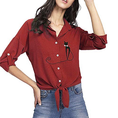 (OSYARD Damen Drucken Cat Bluse Lange, Womens Frauen Drucken Cat Plus Size Geknotet Hem Shirt Long Sleeve Bluse Button Tops (5XL, Rot))