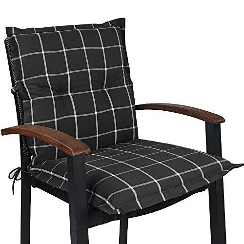 Niedriglehner Auflage für Gartenstühle 100x50x8cm - Premium Stuhlauflage mit Komfortschaumkern und...