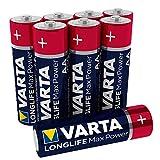 Varta Longlife Max Power Batterie AA Mignon Alkaline Batterien LR6 - 8er Pack