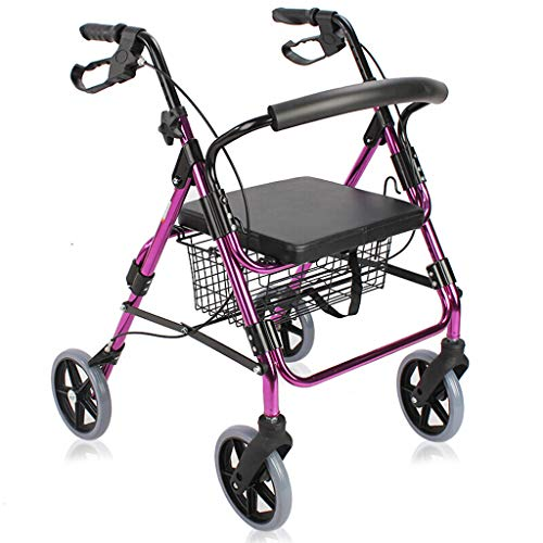 Gehhilfe Kompakter Klappwagen Einkaufswagen aus Aluminium 4-Rad-Gehwagen mit Bremsen und Korb 5-Zoll-Rolle Höhenverstellbar und Armlehnen Atmungsaktives Kissen Rekonstruktion -