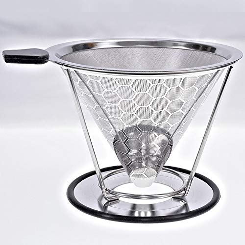 KITCHY Stainless Steel Coffee Drip Cone With Separate Stand Paperless Pour Over Coffee Maker Coffee Filter For Drip Coffee Maker 2-4Cup: Honeycomb