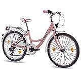 60,96 cm aluminio CITY BIKE bicicleta para niñas infantil CHRISSON RELAXIA con 7 velocidades de homologación para transporte por rose