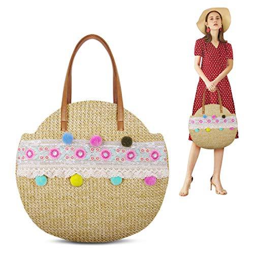 GUNIANG Runde Pompons Schulterstrohtasche Strandtasche für Damen, Sommer große Mais Sommer gewebte Taschen, Gelb (gelb), Large