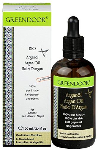 Greendoor REINES Bio Argan-öl ungeröstet in Pipettenflasche 100ml pur nativ kaltgepresst natürlich, Haaröl ohne Silikon für Haare Haut Nägel Gesicht, Natur-Kosmetik Feuchtigkeit spendend anti-aging