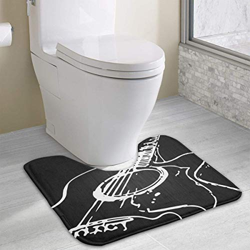 Hoklcvd Acoustic Guitar U-Shaped Toilet Floor Rug Non-Slip Toilet Carpets Bath Mats Rug (Band Husky Halloween)