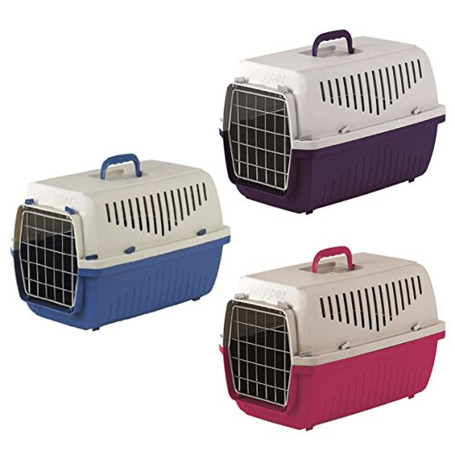 HERITAGE SKIPPA-DUO PLASTIC PET CARRIER DOG PUPPY CAT KITTEN RABBIT TRANSPORT TRAVEL CAGE (PURPLE)