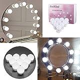 Hollywood-Stil LED Spiegelleuchte - FeelGlad 10 LED-Lampen für Make-up Schminktisch Set Spiegel Lichter 6000K Tageslicht Weiß mit Dimmer und Netzteil Spiegel CE, FCC zertifiziert(Spiegel nicht enthalten) (Weiß)