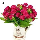RYcoexs 9 têtes de Bouquet de hortensias artificiels Accueil Mariage Faux Fleurs de mariée en Soie Red