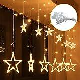Aznoi 12 pcs estrellas luces led, 5.3 metro, hay 8 modos para decoracion navidad,casa,jardin, boda, casa, fiesta, árbol, patio, plaza- Blanco cálida