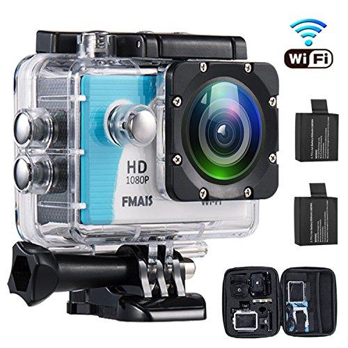 1080P WiFi Action Kamera 2.0 Zoll LCD Full HD Camcorder Unterwasser 30m / 98ft Wasserdichte Sport Kamera mit 2 Akkus und Montage zubehör Kit für Radfahren Schwimmen Klettern Tauchen