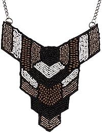 QIYUN.Z Antiguedades Perlas Negras Measle Cadena Babero Declaracion De Las Mujeres Collar De Gargantilla Grueso
