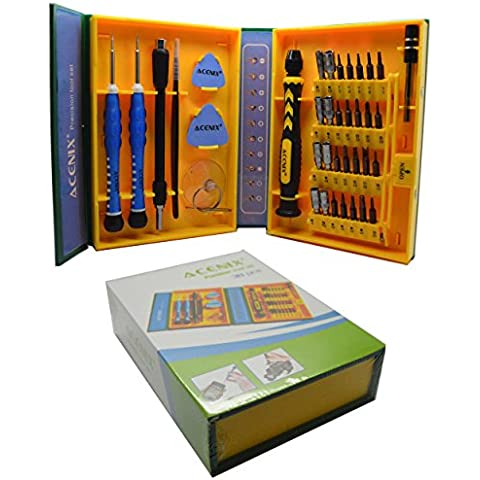 ACENIX® 38piezas profesional set de destornilladores de precisión Reparación Kit de herramientas para reparación de iPhone, Teléfonos Android, tabletas, ordenadores, electrónica y