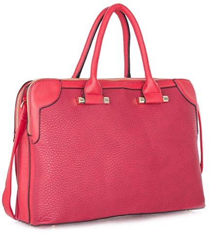 Aclaramiento Precio Barato Descuento Comercial Big Handbag Shop donne designer doppio vano maniglia superiore borsa a tracolla Red (LL301) Colecciones k0IxGOugjl