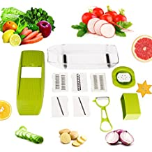 Multifunction Coupe légumes, Uvistar 5 en 1 Cuisine Râpe Légumes, Professionnel Trancheuse pour Pommes de terre / Courgettes / Rutabagas / Courges / Laitue / Radis / Carotte / Navet / Concombre / Tomate