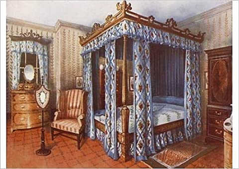 Fine Art Print of A Hepplewhite Bedroom. Chintz-Curtained Inlaid Satinwood