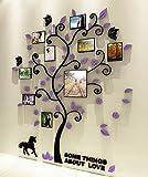 Bellabrunnen 3D Kristall Baum Wand Kunst Aufkleber mit Foto-Rahmen Schlafzimmer Dekoration -lila-XL