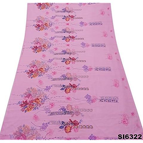 Las Mujeres Indias Época De Color Rosa Sari Vestido De Seda Impresa Mezcla Artesanal Envoltorio Utilizado Pareo Decoración Del Hogar Sari 5 Yardas