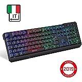 KLIM Chroma Tastiera Italiana per Gaming Wireless - Alte Performance – Colori da Videogioco e Retroilluminata – Tastiera da Gioco – Tastiera per Videogame, PC PS4 Windows, Mac - Nuova Versione 2019