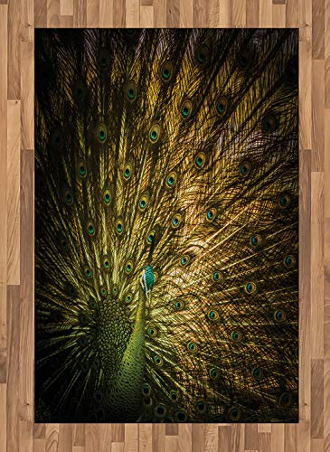 ABAKUHAUS Pfau Teppich, Exotische dunkle Federn, Deko-Teppich Digitaldruck, Färben mit langfristigen Halt, 120 x 180 cm, Senf Grün (Pfau-farben-teppich)