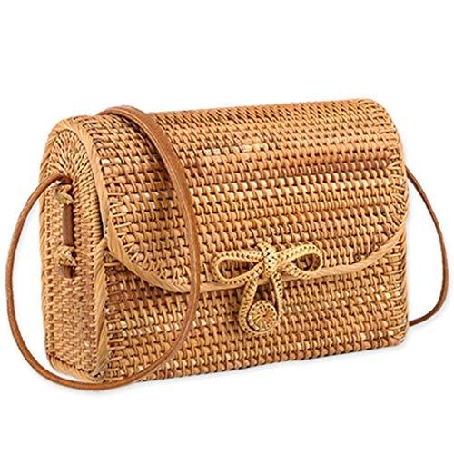 Gewebte Clutch-handtasche (ZYXB Strohsack Für Frauen Rattan Handtaschen Sommer Gewebt Strandtasche Für Damen Babi Rattan Tasche Weibliche Umhängetasche Stroh,Light Brown)