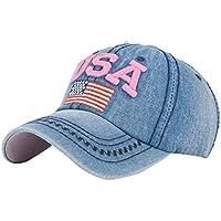 Gorras de Beisbol ❤️Amlaiworld Hombre Mujer Gorra de béisbol USA Rhinestone  Denim Viseras Gorra de 643266b8a9e