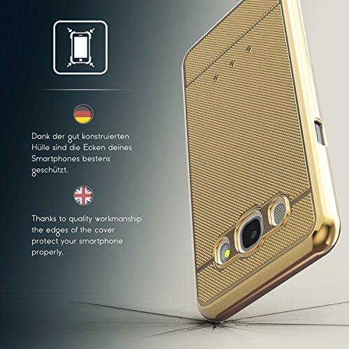 Urcover® Samsung Galaxy J7 (2016) Back-Case Handy Schutz-Hülle Metall Optik Silikon in Rosa TPU Cover Smartphone Zubehör Tasche flexible Ultra Slim Handyhülle Gold