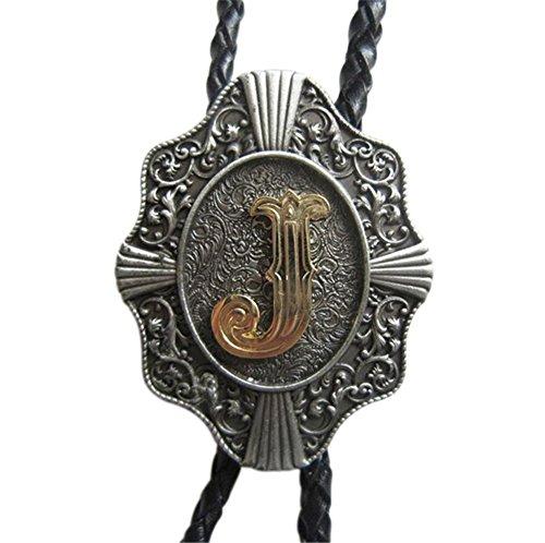 Scheppend Clásico Chapado en oro Letras Mayúsculas Vaquero Occidental Corbata de Bolo (Carta J)