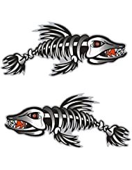MagiDeal 2pcs Calcomanías de Esqueleto de Huesos Pescado Etiqueta Adhesiva de Decoración para Kayak Canoa