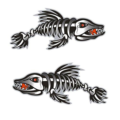 MagiDeal 2Pcs/Set Squelette Arête de Poisson Autocollants Sticker de Vinyle Pour Kayak,Bateau Gonflable,Bateau de Pêche