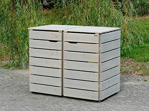 2er Mülltonnenbox / Mülltonnenverkleidung 240 L Holz, Transparent Geölt Grau - 3
