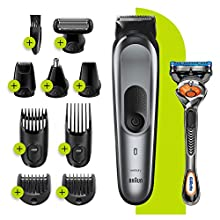 Braun 10-in-1 All-in-one Trimmer 7 MGK7221, Beard Trimmer for Men, Hair Clipper and Body Groomer with 8 Attachments, Charging Stand and AutoSensing Technology, Dark Grey, UK Two Pin Plug