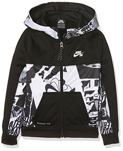 Nike SB Print Blocked TF Full Zip, Cappuccio Bambino, Nero (Black), Small (Taglia Produttore: 8-10Y)