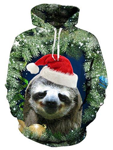 Baum-Hoodie, Chicolife Mens Unisex Front zurück Weihnachten Bäume gedruckten Sweatshirt Hoodie Long Sleeve faulen Faultier Pullover mit Kapuze XX-Large