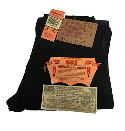JEANS PANTALONE UOMO ORIGINALE LEVI'S - MODELLO 501 - 100 % COTONE (W 27 L 34, NERO)