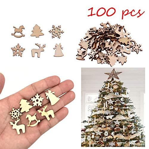 ALILEO 100 Pezzi di Legno Naturale Fai da Te Decorazione Albero di Natale Appeso Ornamenti Ciondolo Regali Fiocchi di Neve Decorazioni Natalizie per La Casa