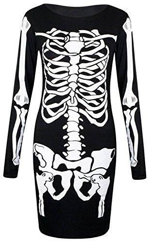Frauen Lange Ärmel Skelett Druck Bleistift Rock HalloweenBodycon Kleid Schwarz
