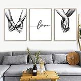 Nordic Poster Tenersi per Mano in Bianco e Nero 3 Pezzi Stampe su Tela Amante Quadri Immagini per Soggiorno Decorazioni per la Camera da Letto Senza Cornice