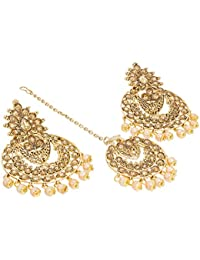 The Luxor Traditional Gold Plated Maang Tikka With Stylish Party Wear Earrings For Women And Girls-ER-1819