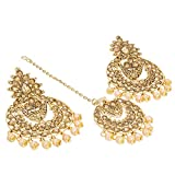 #7: The Luxor Traditional Gold Plated Maang Tikka with Stylish Party Wear Earrings for Women and Girls-ER-1819