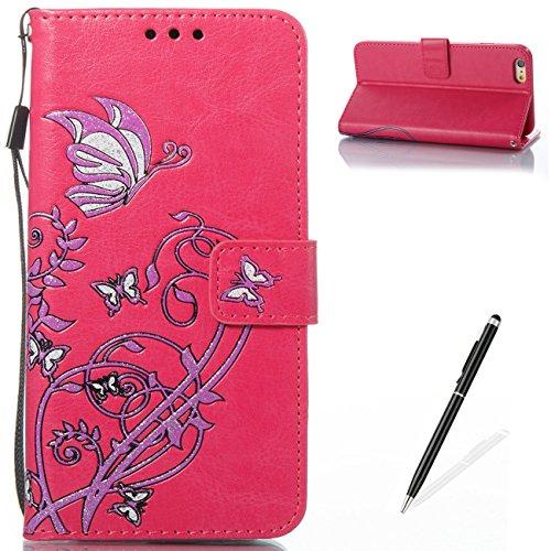 Case MAGQI iPhone 6 Plus/6S Plus 5.5 Custodia,Morbido Durevole Portafoglio in Pelle PU Premium Rosa Farfalla Embossed Fiore Modello Copertina Basamento del Telefono Flip Stile Libro Copertura Protetti Rosa Rossa