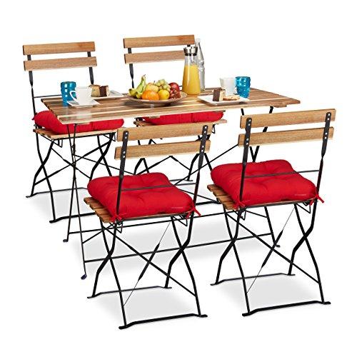 9 Tlg Gartensitzgruppe Aus Holz Natur Gartentisch Und Gartensthle Klappbar Rote Stuhlkissen Mit Schleife 4 Personen