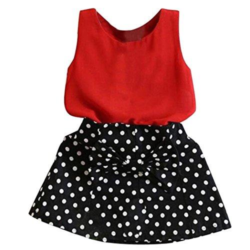 ❤️Elecenty Mädchen Prinzessin Kleid,Zweiteilig Kleid Kinder Weste Chiffon Shirt Rock Set Sommerkleid Strandkleid Baby Kleider Outfit Kinderkleidung Partykleid Tüllkleid (120, Rot) (Spitze Nylon Sweater)