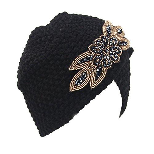 Ularma Mode Womens Hiver Chaud Tricoter Au crochet Ski Chapeau Tressé Turban Coiffure Cap (Noir)