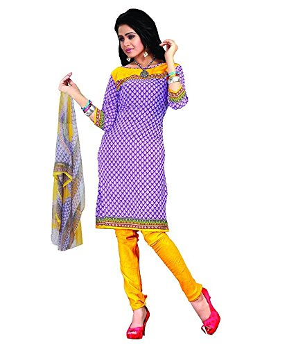 Vineberi Elegant And Gorgeous Unstitched Printed Crepe Purple Salwar Suit Dress Material  available at amazon for Rs.399